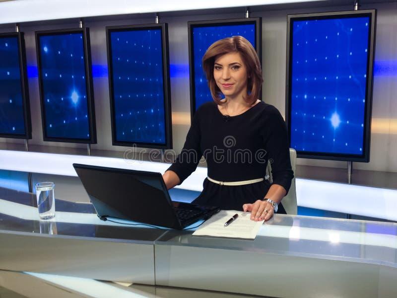 Fernsehreporter, der die Nachrichten darstellt lizenzfreie stockbilder