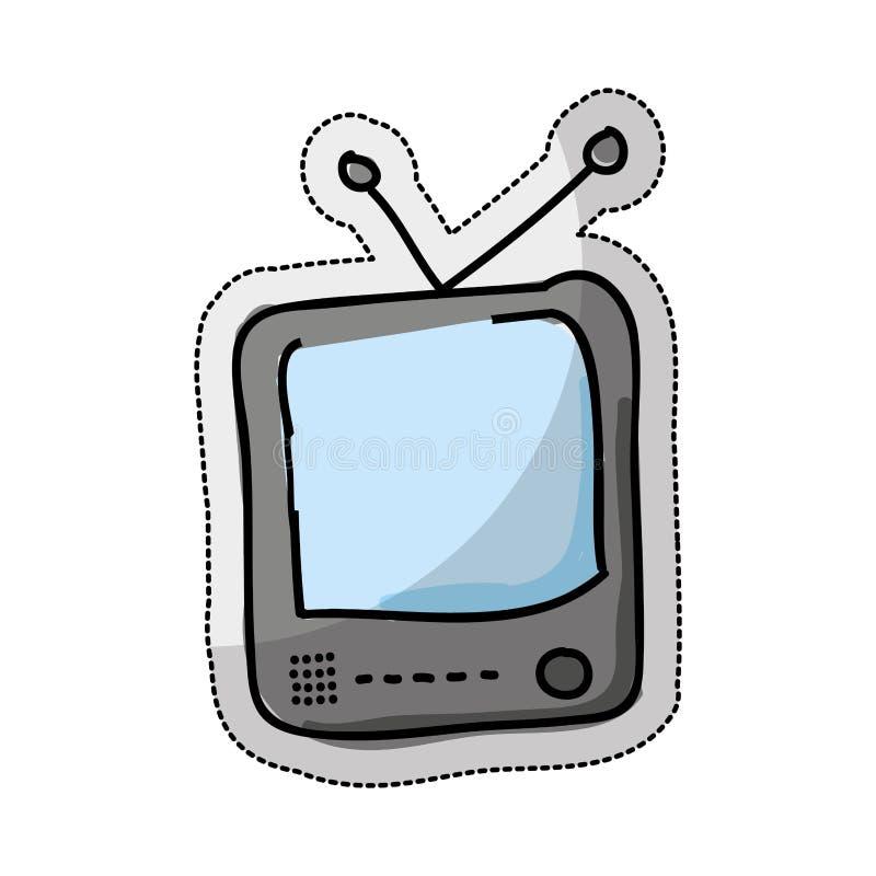 Fernsehretro- Zeichnung lokalisierte Ikone vektor abbildung