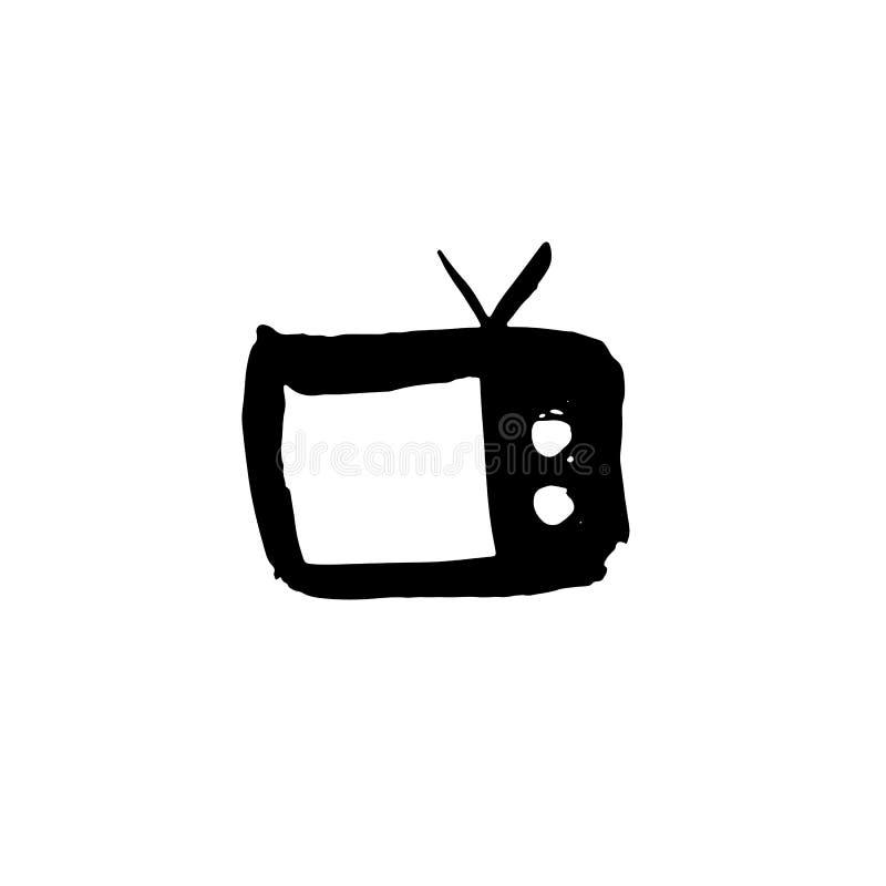 Fernsehschmutzikone Fernsehaquarellbürsten-Vektorillustration vektor abbildung