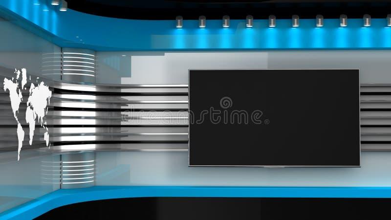 Fernsehstudio Blaues Studio Hintergrund für Fernsehshows Fernsehapparat auf Wand Nachrichten s stockbild