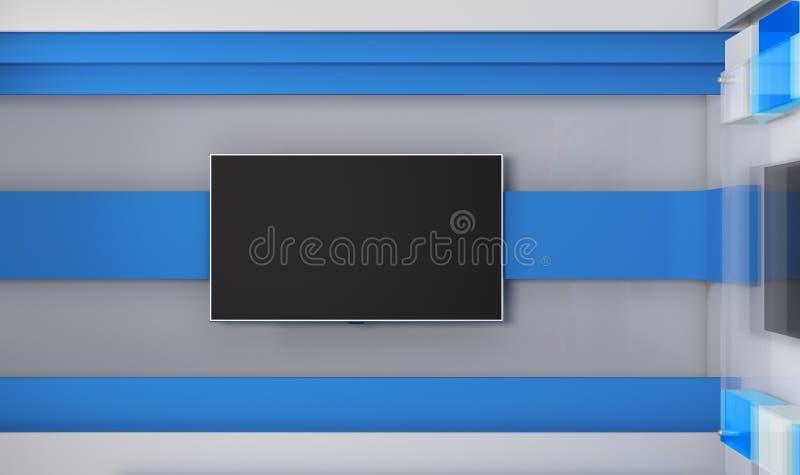 fernsehstudio fernsehapparat auf wand nachrichten studio hintergrund f r fernsehshows stock. Black Bedroom Furniture Sets. Home Design Ideas