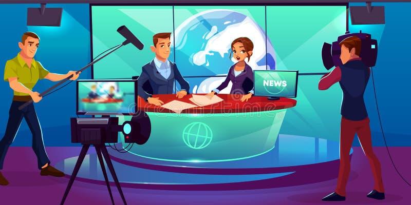 Fernsehstudio, Fernsehvorführer, die über Nachrichten berichten lizenzfreie abbildung