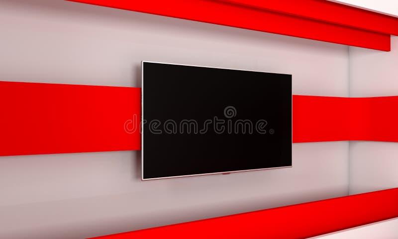 Fernsehstudio Hintergrund für Fernsehshows Fernsehapparat auf Wand Nachrichten-Studio Der perfekte Hintergrund für irgendeinen gr stock abbildung