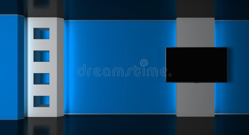 Fernsehstudio Nachrichten-Studio Nachrichtenraum Letzte Nachrichten Wiedergabe 3d vektor abbildung