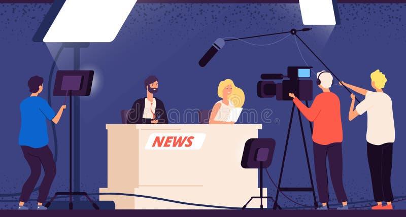 Fernsehstudionachrichten Journaliststadiumsschreibtisch-Fernsehsendungsberufsmannschaftskameramannfernsehinterview-Shownachrichte vektor abbildung