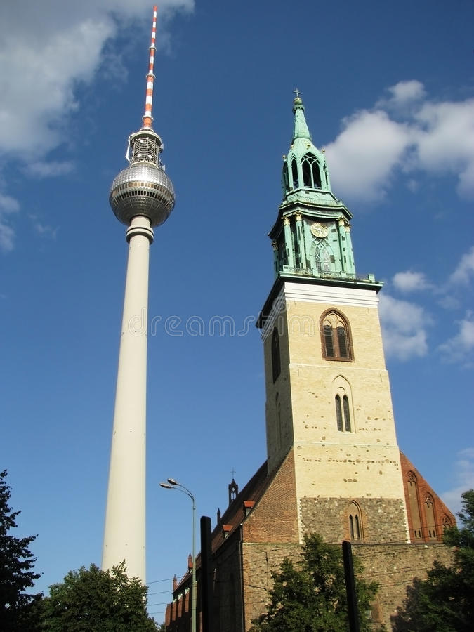 Download Fernsehturm 8 - Two Towers stock photo. Image of church - 10604662
