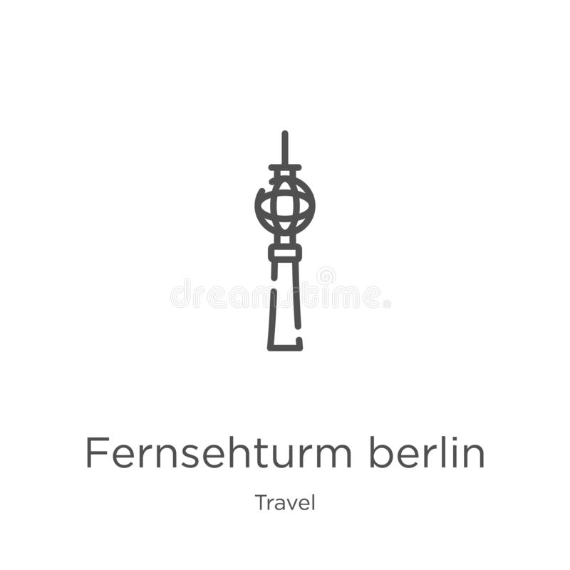 Fernsehturm berlin icon vector from travel collection. Thin line fernsehturm berlin outline icon vector illustration. Outline,. Fernsehturm berlin icon. Element stock illustration
