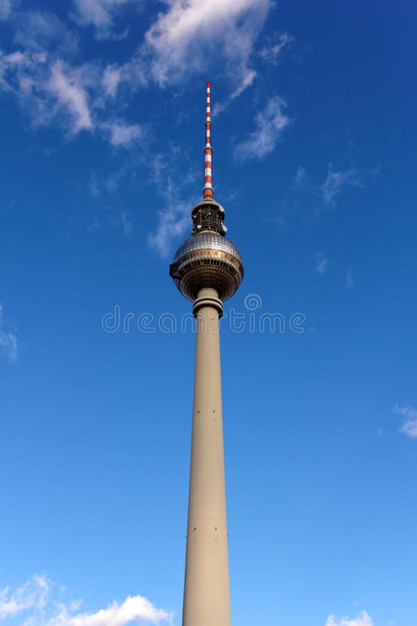 The Fernsehturm Tower Of Berlin Before A Blue Sky Royalty Free Stock Image