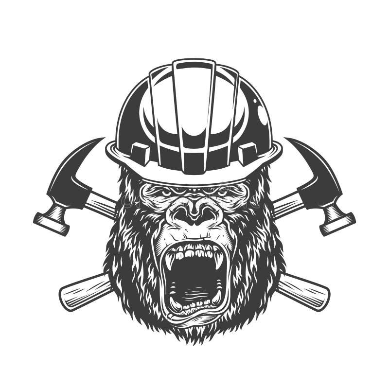 Ferocious gorilla head in builder helmet stock illustration