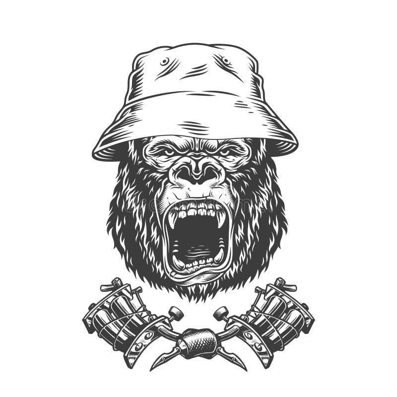 Ferocious gorilla head in panama hat vector illustration