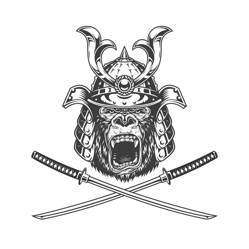 Ferocious gorilla head in samurai helmet vector illustration