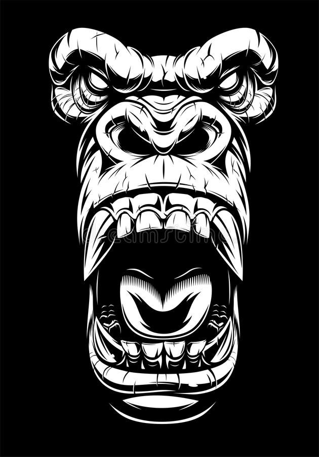Ferocious gorilla head. Vector illustration, ferocious gorilla head, on black background, stencil royalty free illustration
