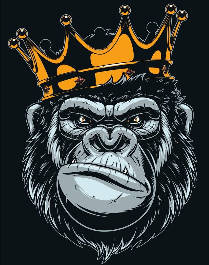 Ferocious gorilla head royalty free illustration