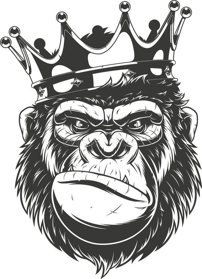 Ferocious gorilla head stock illustration