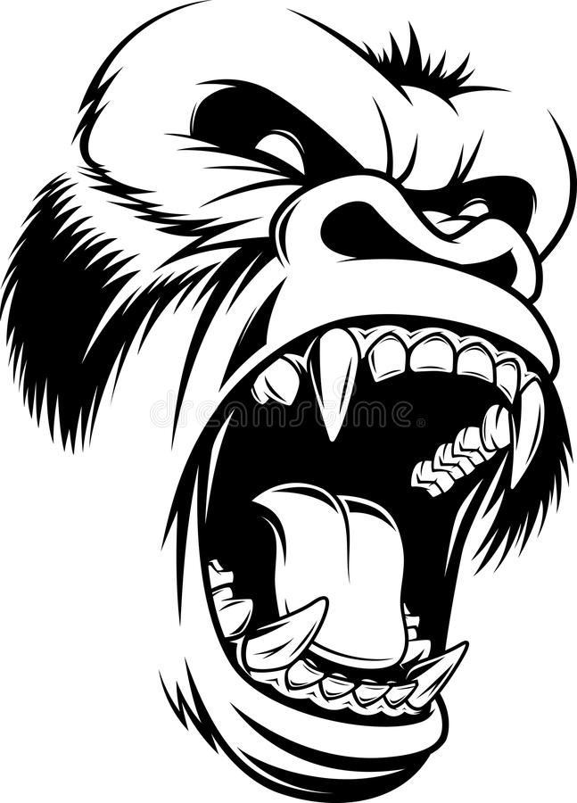 Ferocious gorilla head vector illustration