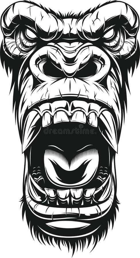 Ferocious gorilla head. Vector illustration, ferocious gorilla head, on white background, sketch vector illustration