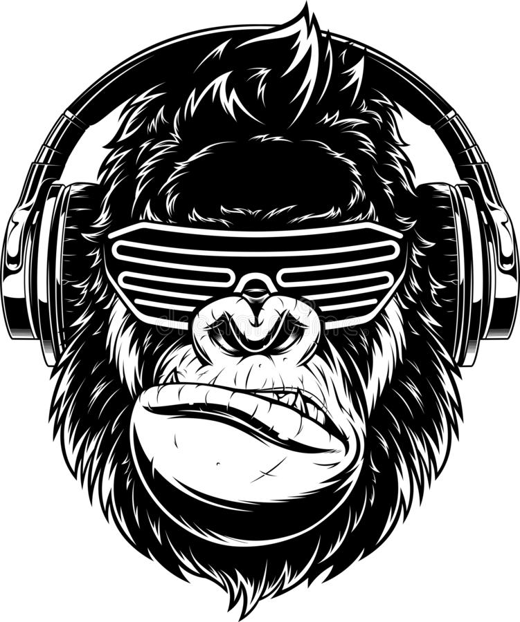 Ferocious gorilla in headphones royalty free stock photo