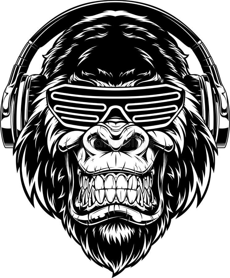 Ferocious gorilla i hörlurar stock illustrationer