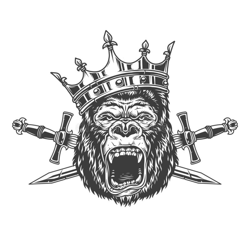 Ferocious gorilla king head in crown stock illustration