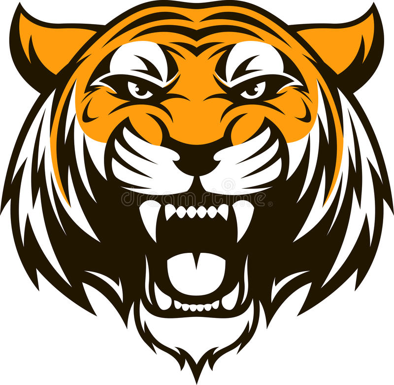 Ferocious tiger head royalty free illustration