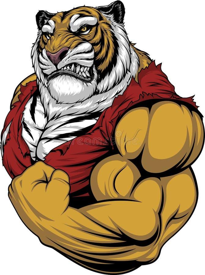 Ferocious Tiger strong bodybuilder stock photography