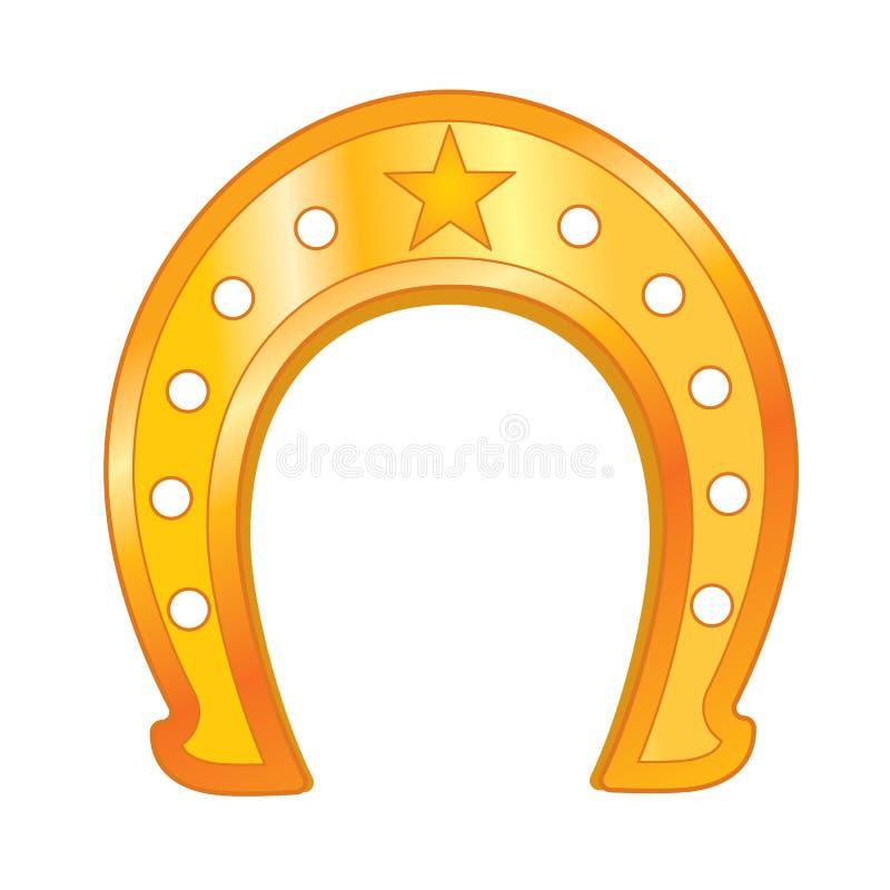 Ferradura dourada do vetor com estrela ilustração do vetor