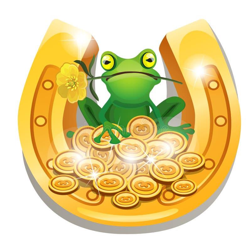 Ferradura dourada, moedas e uma rã com uma flor em sua boca isolada no fundo branco Close-up dos desenhos animados do vetor ilustração royalty free