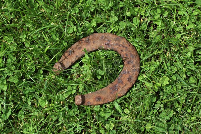 Ferradura oxidada na grama verde fotografia de stock