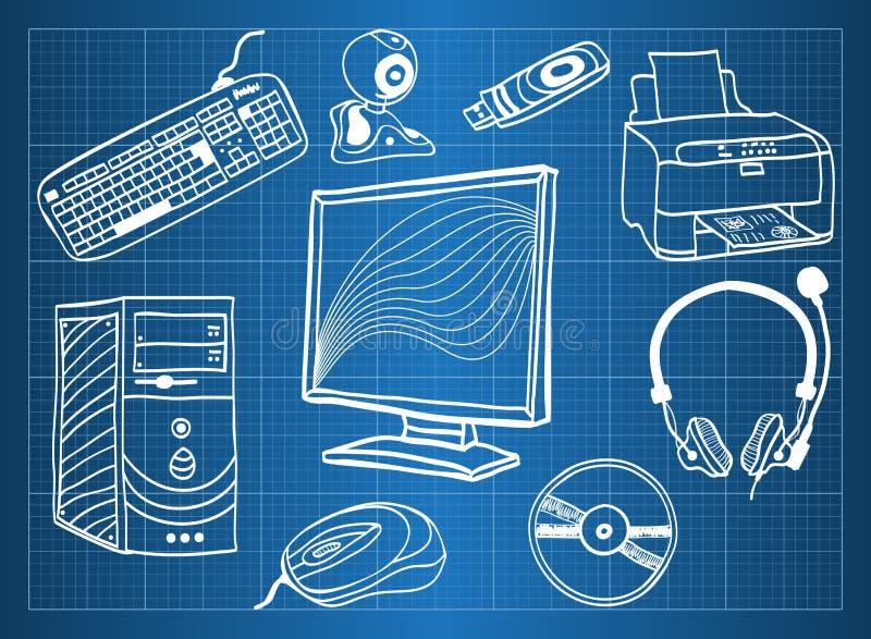 Ferragem de computador - peripherals ilustração royalty free