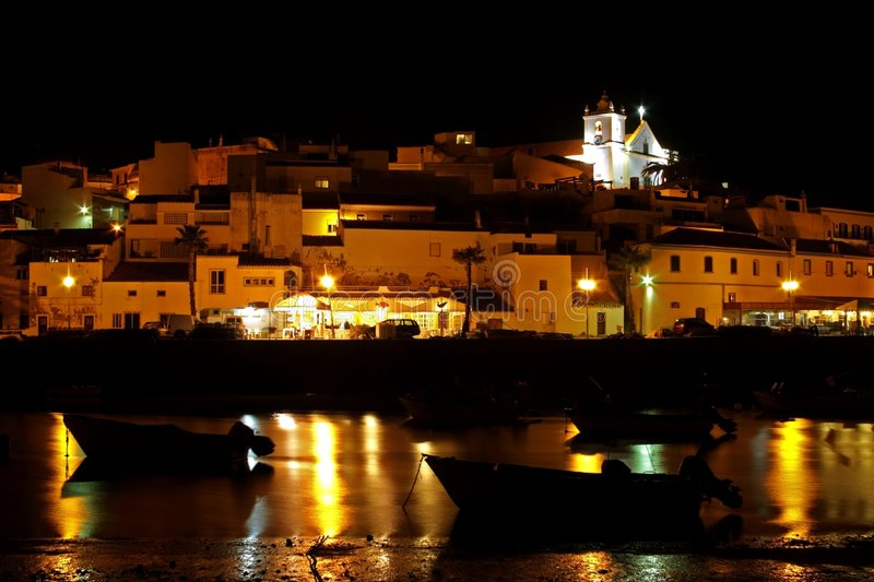 Ferragudo by night in Portugal royalty free stock photos