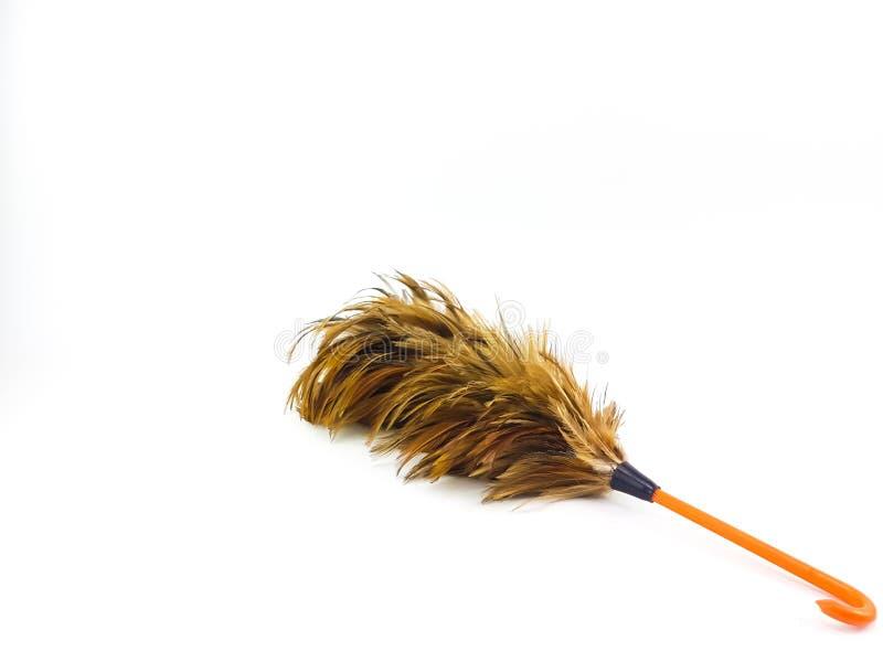A ferramenta curto do líquido de limpeza da pena da galinha com a laranja do handl do gancho foto de stock