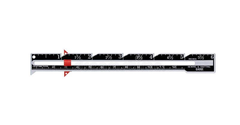 Ferramenta de medição usada no bordado Costura do metal e calibre de confecção de malhas, cortados foto de stock royalty free