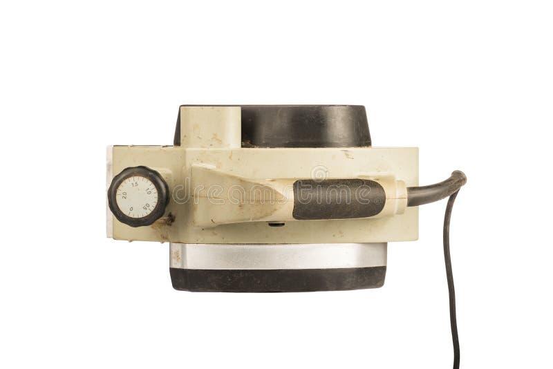 Ferramenta de moedura elétrica em um fundo branco Isolado fotografia de stock