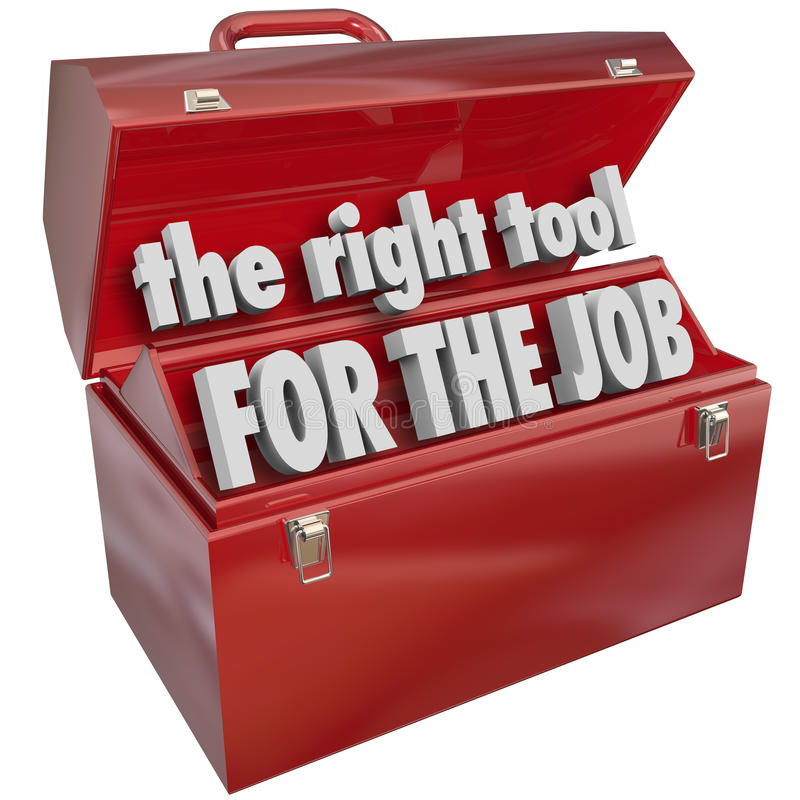 A ferramenta direita para Job Toolbox Experience Skills ilustração stock