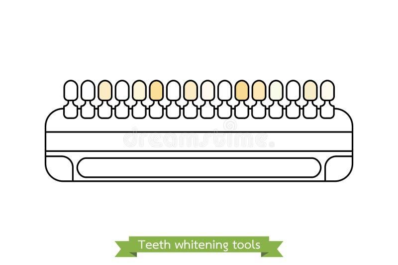 Ferramenta do alvejante do dente - comparação da brancura dental - estilo do esboço do vetor dos desenhos animados ilustração stock