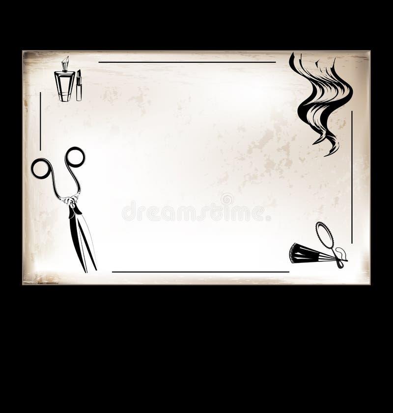 Ferramenta do cartão do vintage para o cabeleireiro ilustração stock