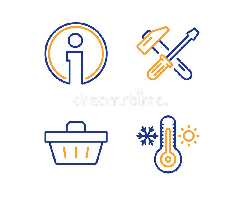 Ferramenta do martelo, de ícones da informação e do cesto de compras grupo Sinal do termômetro Chave de fenda do reparo, informaç ilustração do vetor