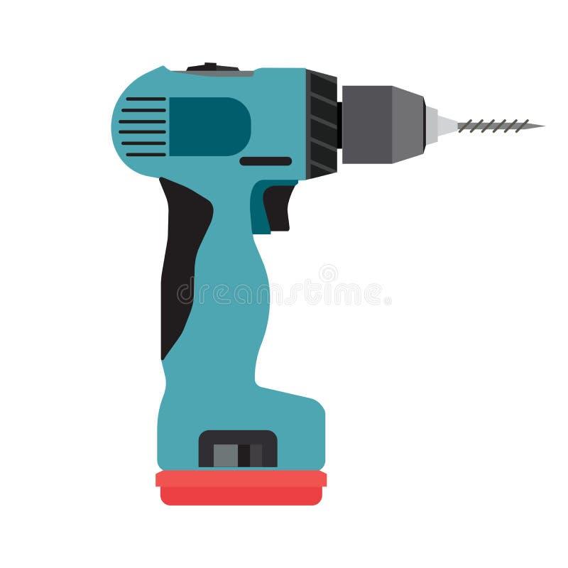 Ferramenta elétrica elétrica do motorista do vetor sem corda do ícone da broca Perfuração do trabalho de mão da chave de fenda da ilustração do vetor