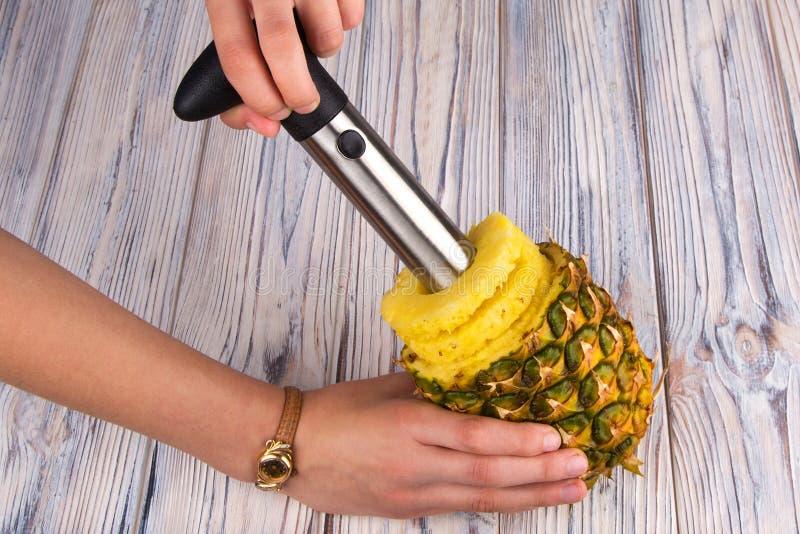 Ferramenta especial para cortar anéis do abacaxi fotografia de stock