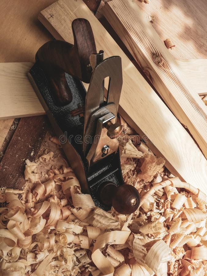 Ferramenta mais plana de madeira manual velha fotografia de stock