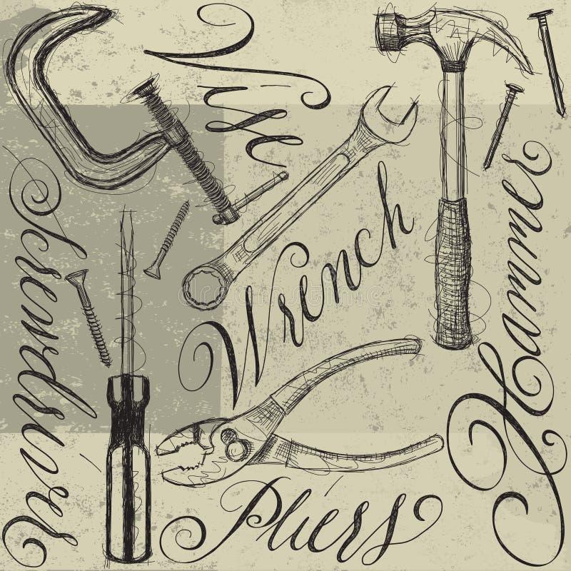 Ferramentas da construção com caligrafia ilustração do vetor