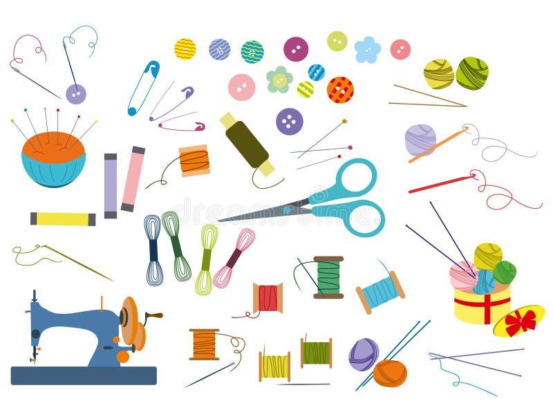 Ferramentas da costura e jogo de costura, equipamento da costura, agulha, máquina de costura, pino da costura, fio ilustração do vetor