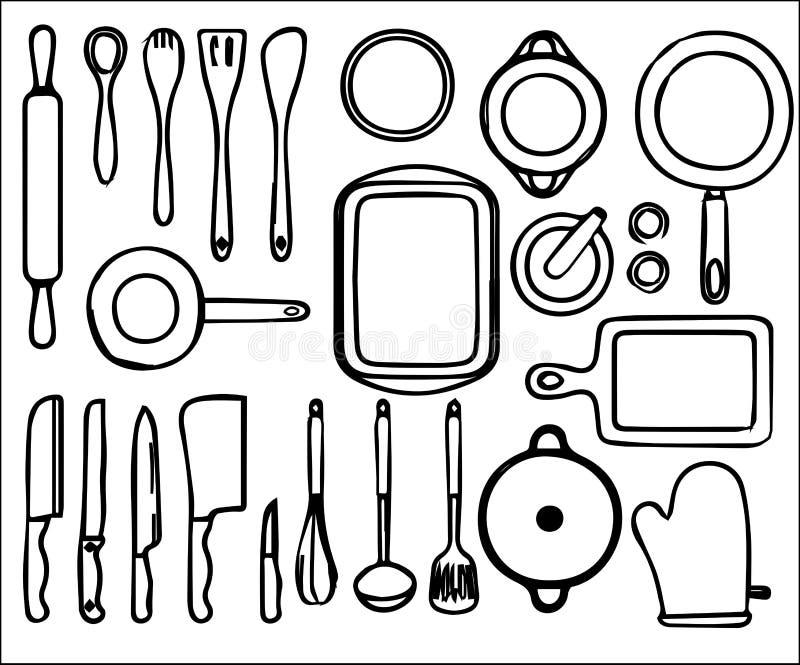 Download Ferramentas da cozinha ilustração do vetor. Ilustração de preto - 80101128