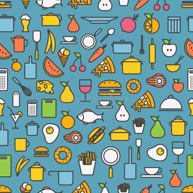Ferramentas da cozinha e ícones da silhueta da refeição ilustração do vetor