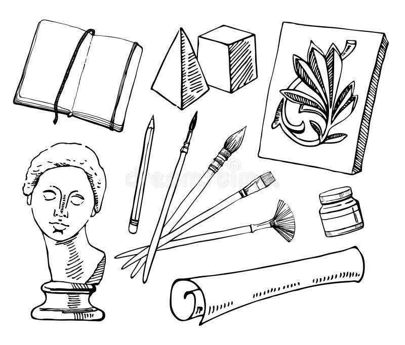 Ferramentas da escola de arte Ajuste dos materiais tirados mão do artista do vetor do esboço Ilustração estilizado preto e branco ilustração do vetor
