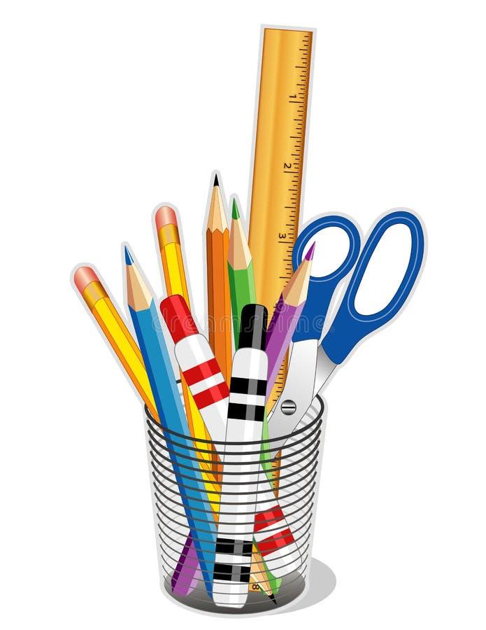 ferramentas da escrita & de desenho de +EPS ilustração do vetor