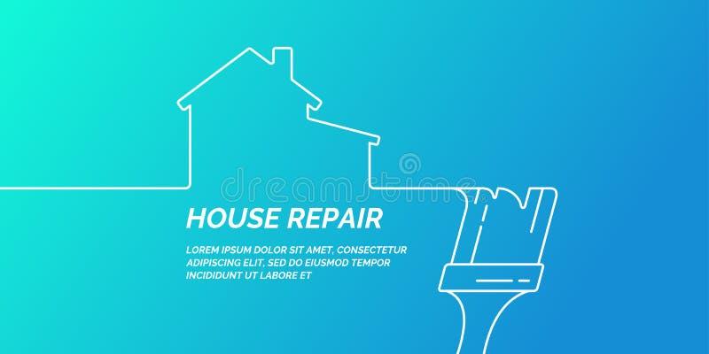 Ferramentas da mão para a renovação e a construção home Cartaz linear do reparo da casa ilustração do vetor