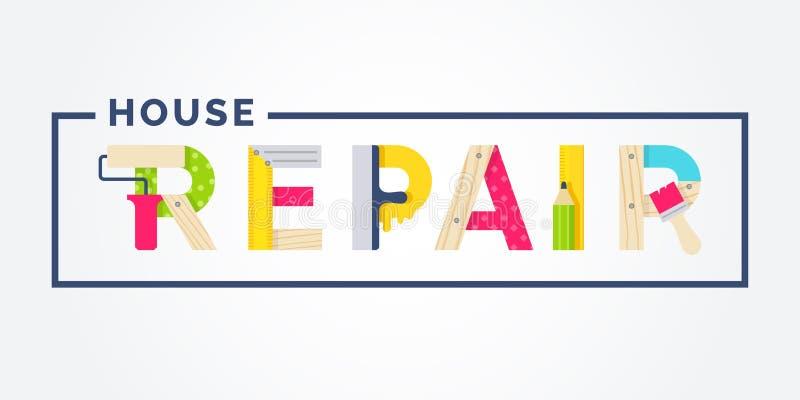 Ferramentas da mão para a renovação e a construção home Reparo da construção e da casa Ilustração do vetor ilustração stock