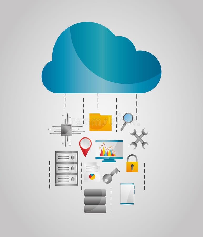Ferramentas da proteção de arquivo do armazenamento dos córregos de dados da nuvem ilustração do vetor