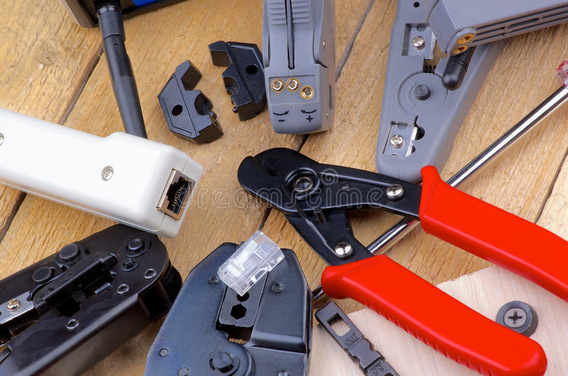 Ferramentas da rede informática foto de stock